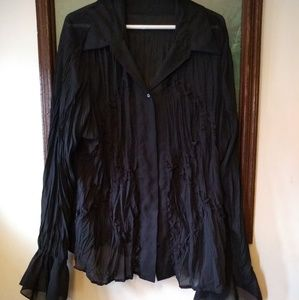 Sheer lace panel black button-down top - XL
